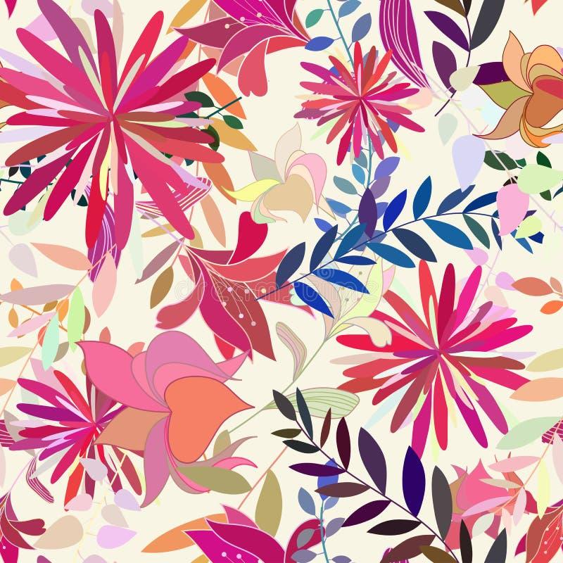 Nahtloses Mehrfarbenblumenmuster lizenzfreie abbildung