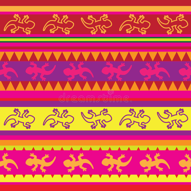Nahtloses mexikanisches Eidechsengewebemuster vektor abbildung