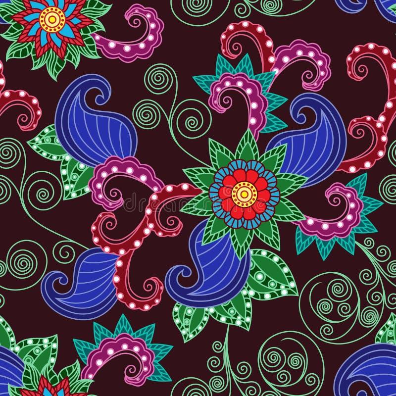 Nahtloses mit Blumenmuster über Rotweinhintergrund lizenzfreie abbildung
