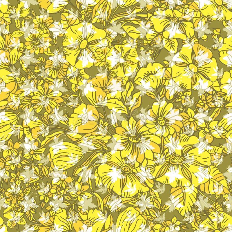 Nahtloses mit Blumenmuster mit abstrakten Blättern, Blumen, Mohnblumen, Tulpen, Lilien und Anlagen in den Schatten des Gelbs stock abbildung