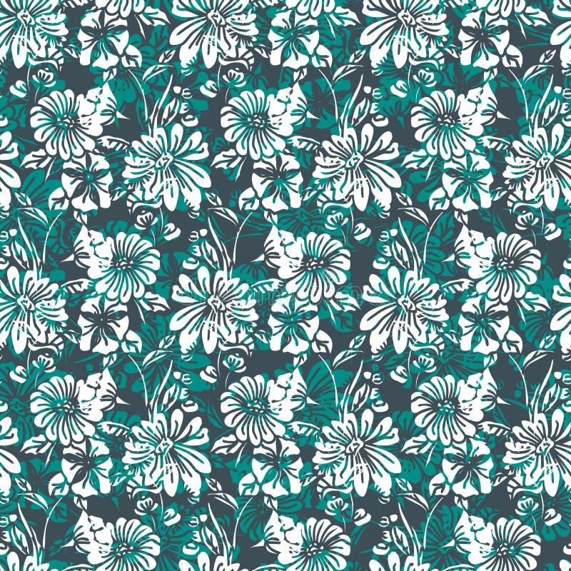 Nahtloses mit Blumenmuster mit abstrakten Blättern, Blumen, Petunien und Gänseblümchen in den grünen Abstufungen, weiß und schwar stock abbildung