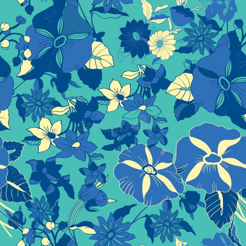Nahtloses mit Blumenmuster mit abstrakten Bl?ttern, Blumen, Petunien und G?nsebl?mchen vektor abbildung