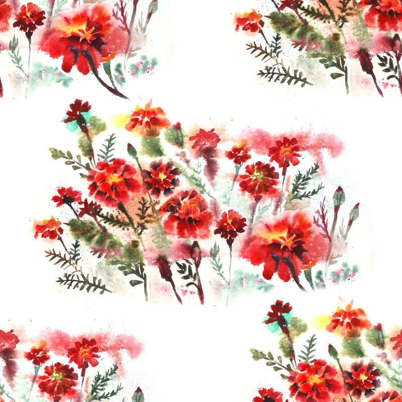 Nahtloses mit Blumenmuster auf weißem Hintergrund mit Ringelblume blüht watercolor stock abbildung