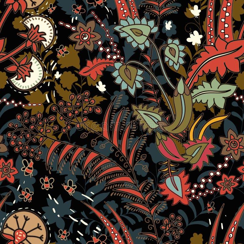Nahtloses mit Blumenmuster, Beschaffenheitseffekt Indische bunte Verzierung Vektor-dekorative Blumen und Paisley Ethnische Art lizenzfreie abbildung