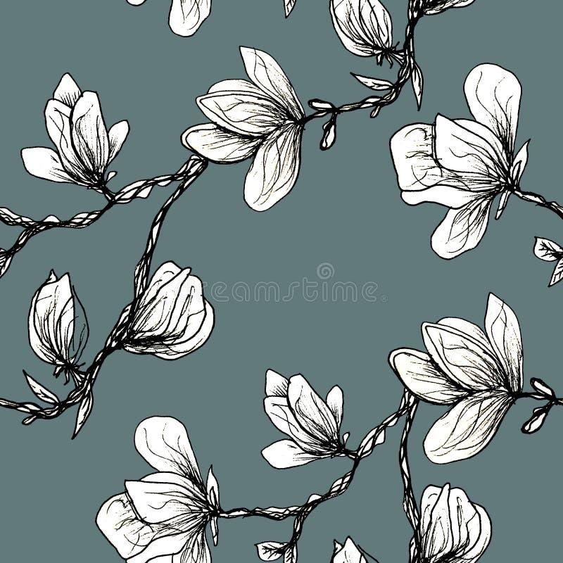 Nahtloses mit Blumenmuster Blühende Magnolie auf einem grauen Hintergrund Druck f?r Gewebe und andere Oberfl?chen Technologiehint stock abbildung