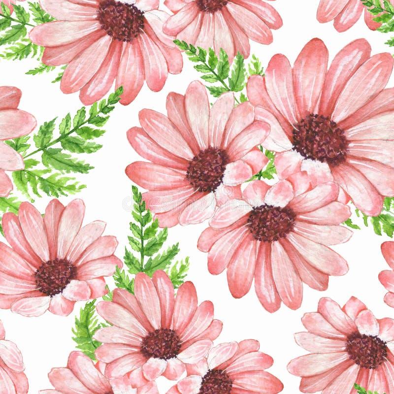 Nahtloses mit Blumenmuster 1 Blumen und Blätter stock abbildung