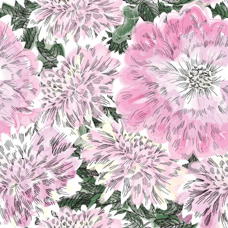 Nahtloses mit Blumenmuster Blumenchrysanthemenhintergrund Flouri lizenzfreie abbildung