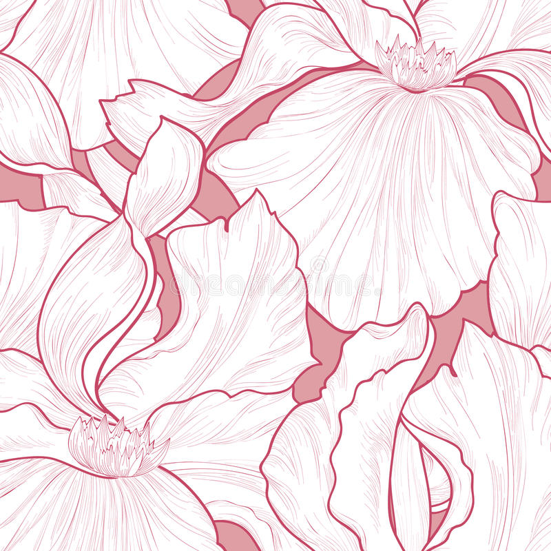 Nahtloses mit Blumenmuster Blumeniris-Radierungshintergrund Abstrac lizenzfreie abbildung