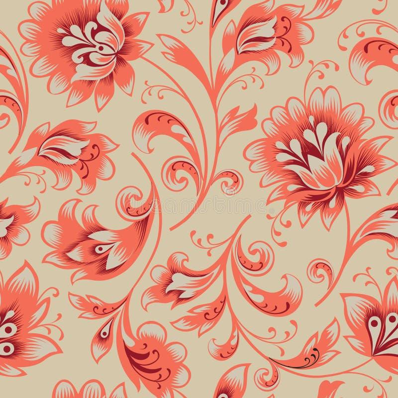 Nahtloses mit Blumenmuster Blumenstrudelhintergrund Dekorativer Brokat easten Malerei stock abbildung