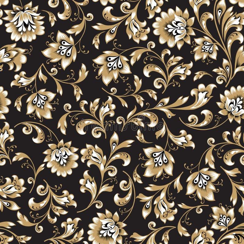 Nahtloses mit Blumenmuster Blumenstrudelhintergrund Dekorativer Brokat easten Malerei lizenzfreie abbildung
