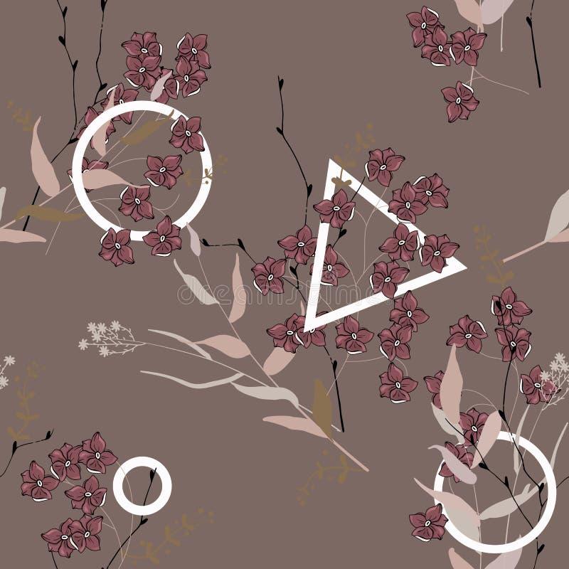 Nahtloses mit Blumenmuster der Blüte Geometrische Verzierung auf einem alten Papier tapete Blühende realistische lokalisierte Blu stock abbildung