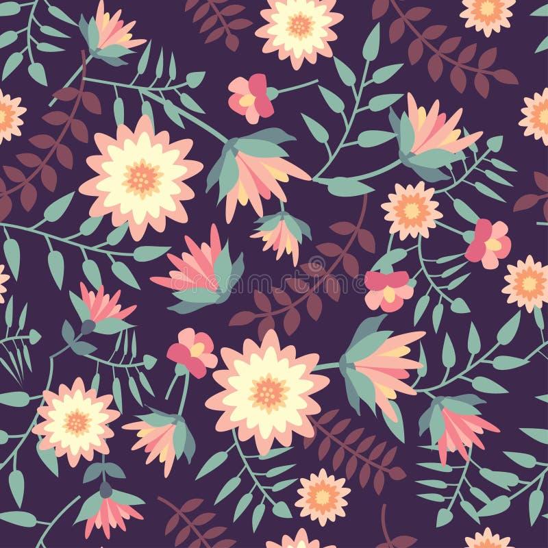 Nahtloses mit Blumenmuster in der flachen Art stock abbildung