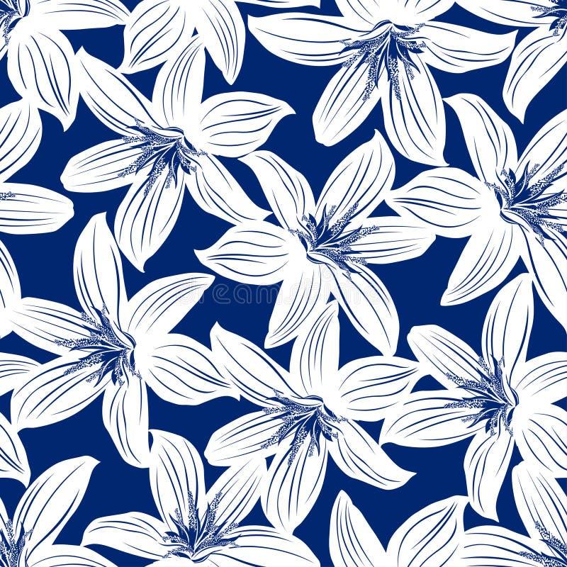 Nahtloses mit Blumenmuster der Marine und des weißen tropischen Hibiscus lizenzfreie abbildung