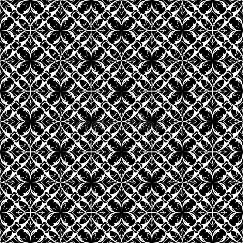 Nahtloses mit Blumenmuster der Spitzes Vektor Spitzen- Schwarzweiss-backgr vektor abbildung