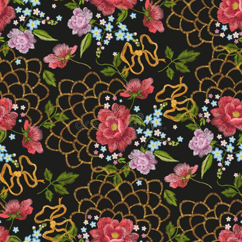 Nahtloses mit Blumenmuster der Stickerei mit Heckenrosen, Vergissmeinnicht vektor abbildung