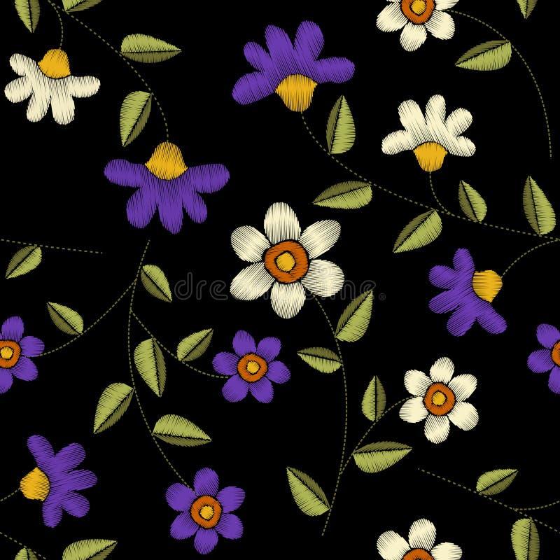 Nahtloses mit Blumenmuster der tropischen Stickerei vektor abbildung
