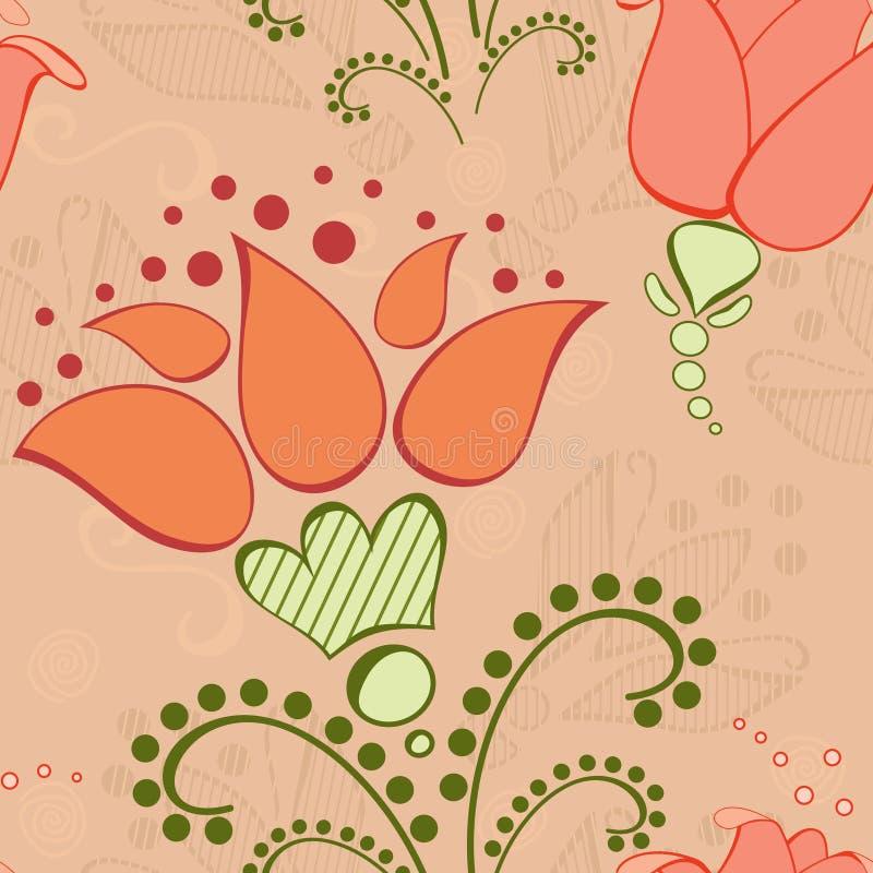 Nahtloses mit Blumenmuster der Weinlese stock abbildung