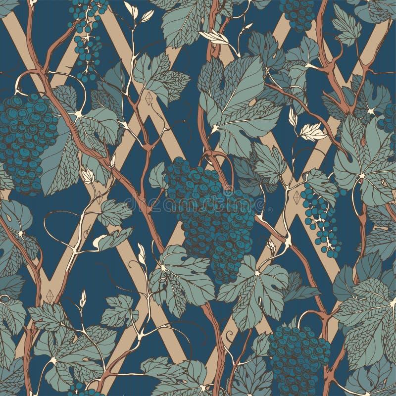 Nahtloses mit Blumenmuster der Weinlese mit Traubenbeeren und -blättern stock abbildung