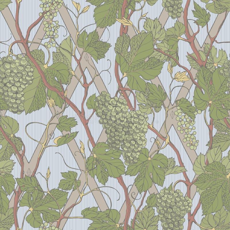 Nahtloses mit Blumenmuster der Weinlese mit Traubenbeeren und -bl?ttern stock abbildung