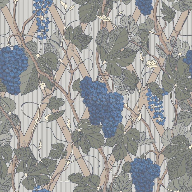 Nahtloses mit Blumenmuster der Weinlese mit Traubenbeeren und -bl?ttern lizenzfreie abbildung