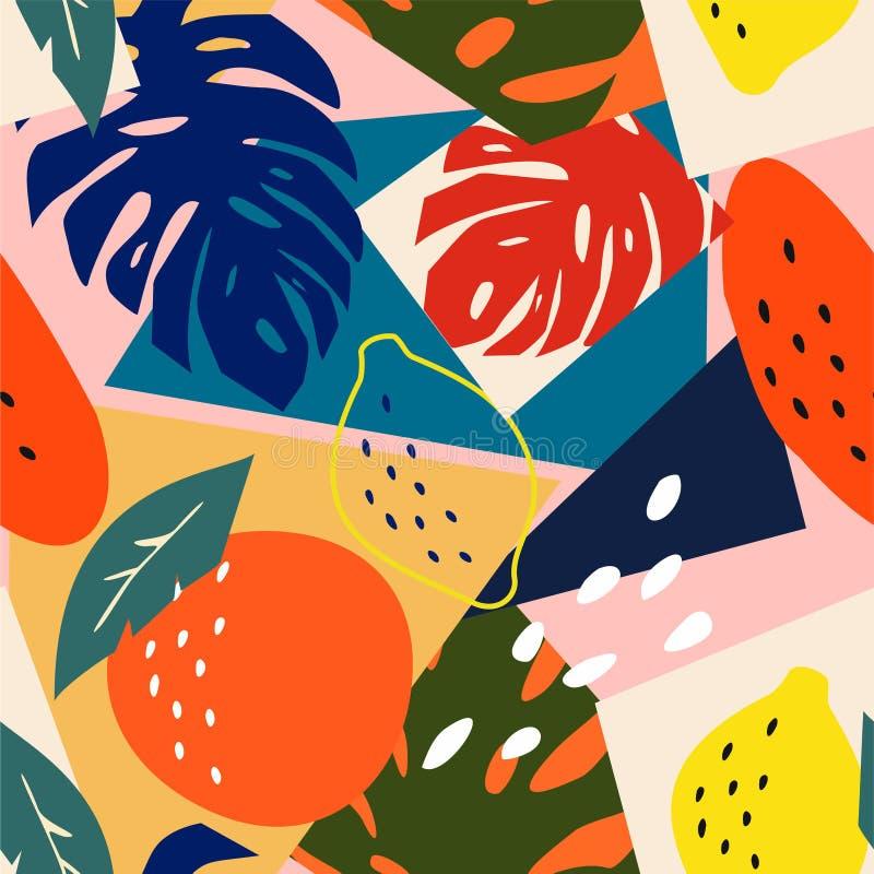 Nahtloses mit Blumenmuster der zeitgenössischen Zusammenfassung Moderne exotische tropische Früchte und Anlagen Vektor farbiger E lizenzfreie abbildung