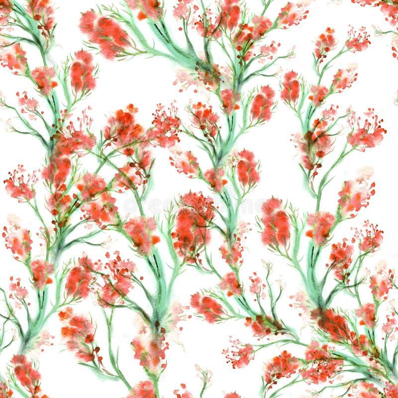 Nahtloses mit Blumenmuster des Aquarells stock abbildung