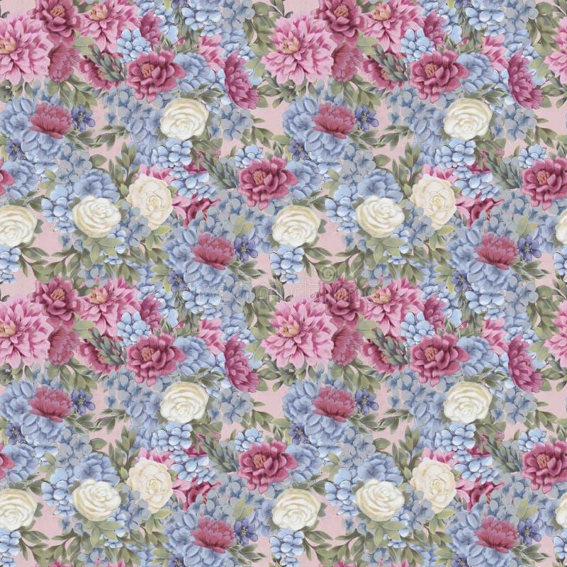 Nahtloses mit Blumenmuster des Aquarells Handgemalte Blumen, Grußkartenschablone oder Packpapier lizenzfreie abbildung