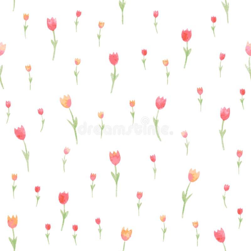 Nahtloses mit Blumenmuster des Aquarells Tulpen Auch im corel abgehobenen Betrag Schöner Hintergrund lizenzfreie abbildung