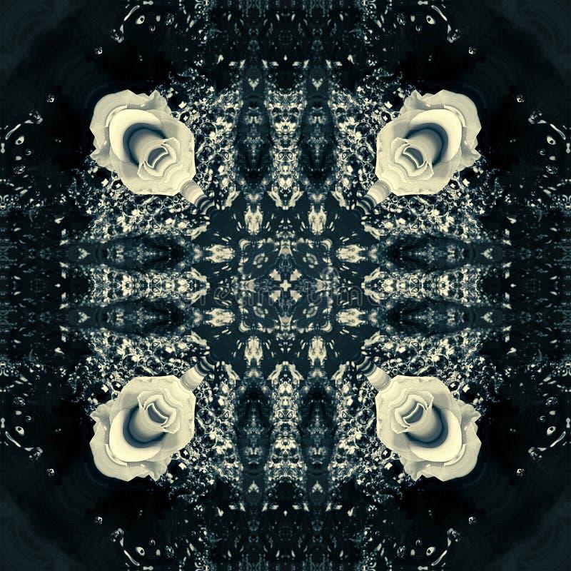 Nahtloses mit Blumenmuster des Blumensommers Abstraktes Kaleidoskop vektor abbildung