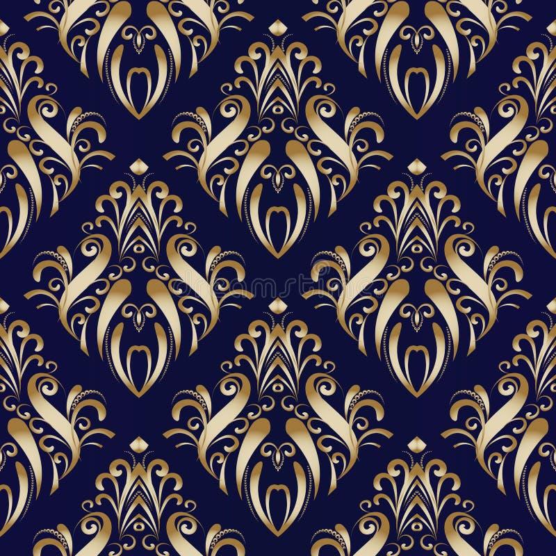 Download Nahtloses Mit Blumenmuster Des Golddamastes Mit Hand Gezeichneten Verzierungen Vektor Abbildung - Illustration von blätter, kurve: 106804769