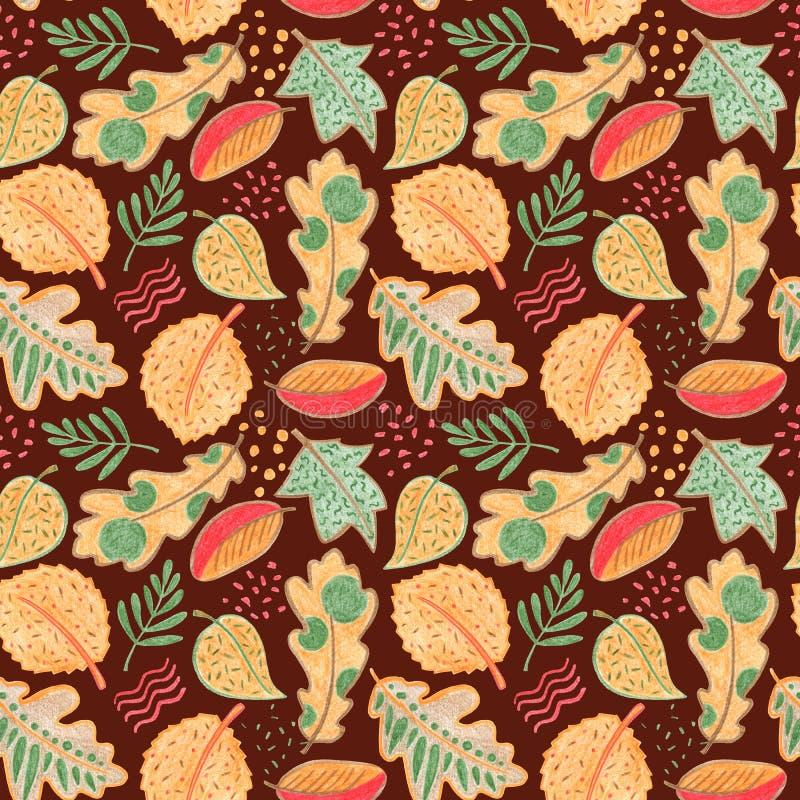 Nahtloses mit Blumenmuster des Herbstlaubs Vibrierende Blätter auf warmem braunem Hintergrund Handdrawn Illustration des Fallblat stock abbildung