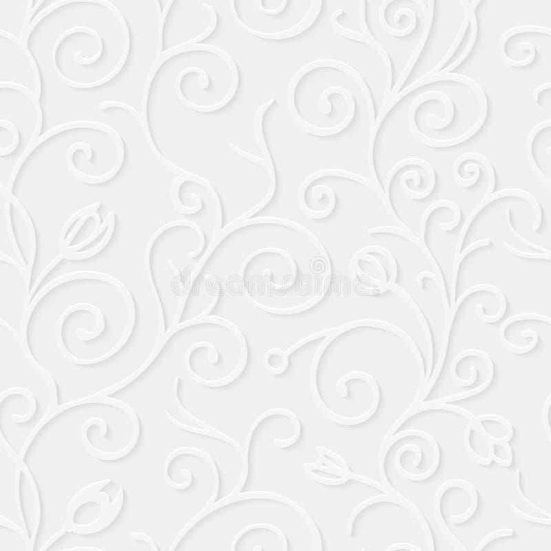 Nahtloses mit Blumenmuster des Papiers 3d Vektordesign mit realistischem Schatten vektor abbildung