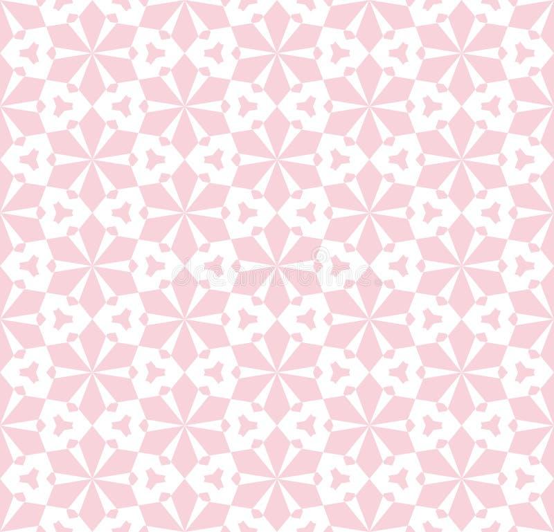 Nahtloses mit Blumenmuster des subtilen Rosavektors Weiße und rosafarbene geometrische Verzierung stock abbildung