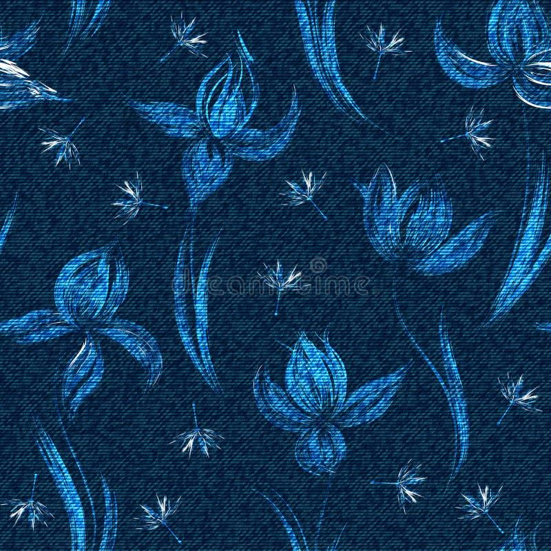 Nahtloses mit Blumenmuster des Vektor-Denims Verblaßter Jeanshintergrund mit Krokusblumen Blue Jeanstuchhintergrund lizenzfreie abbildung