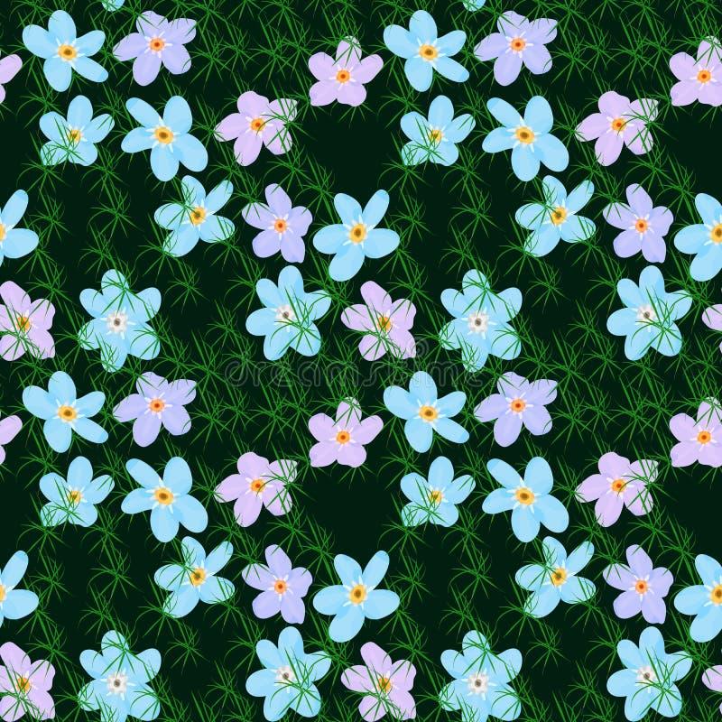 Nahtloses mit Blumenmuster des Vektors Abbildung der Blumen lizenzfreie abbildung