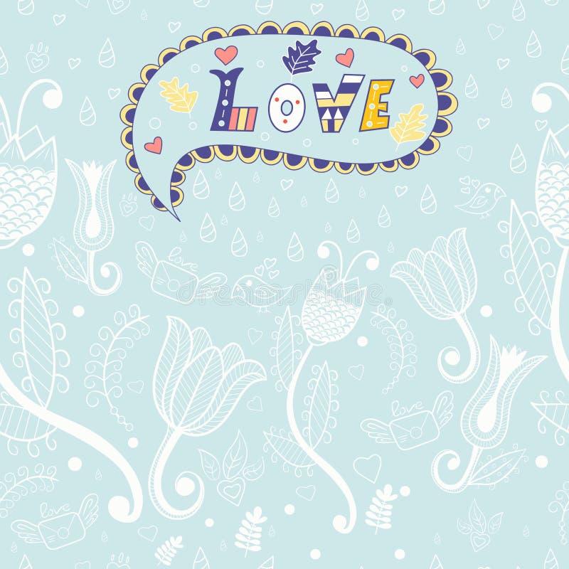 Nahtloses mit Blumenmuster des Vektors Liebe lizenzfreie abbildung