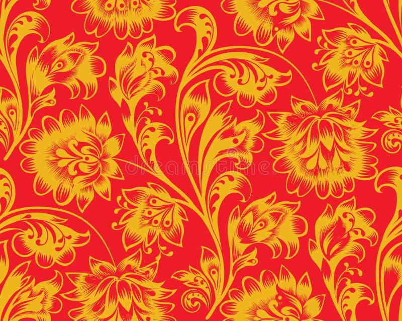 Nahtloses mit Blumenmuster Es gibt ein Vektorformat Dekorativer Flourishhintergrund in der traditionellen russischen Volksart lizenzfreie stockfotografie