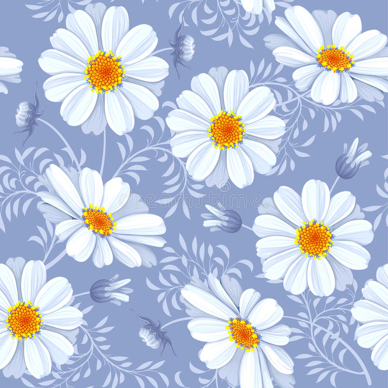 Nahtloses mit Blumenmuster - Gänseblümchen vektor abbildung
