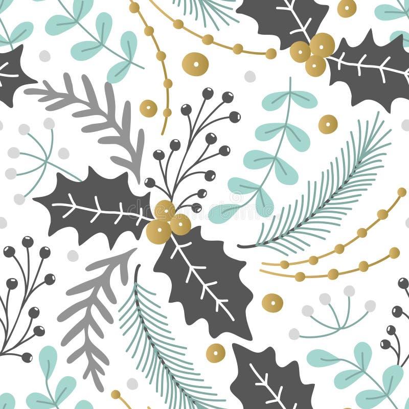 Nahtloses mit Blumenmuster Hand gezeichnete Kräuter Frohe Weihnachten Winterurlaub Künstlerischer Hintergrund stechpalme stock abbildung