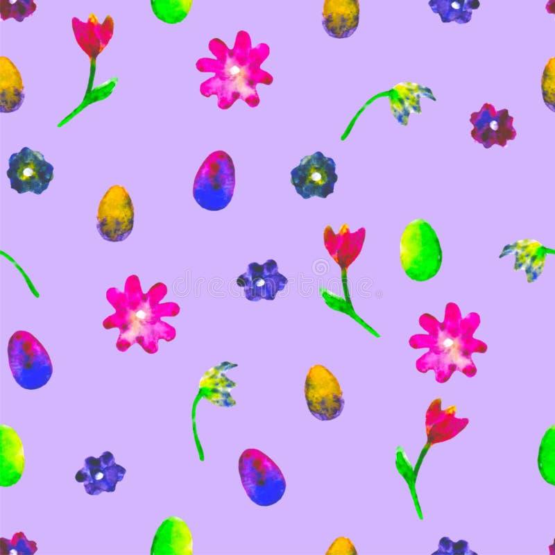 Nahtloses mit Blumenmuster Handgemalte Gänseblümchen und Tulpenpflaume Helle Aquarellillustration Bunte Blumenendeneier auf Purpu stock abbildung