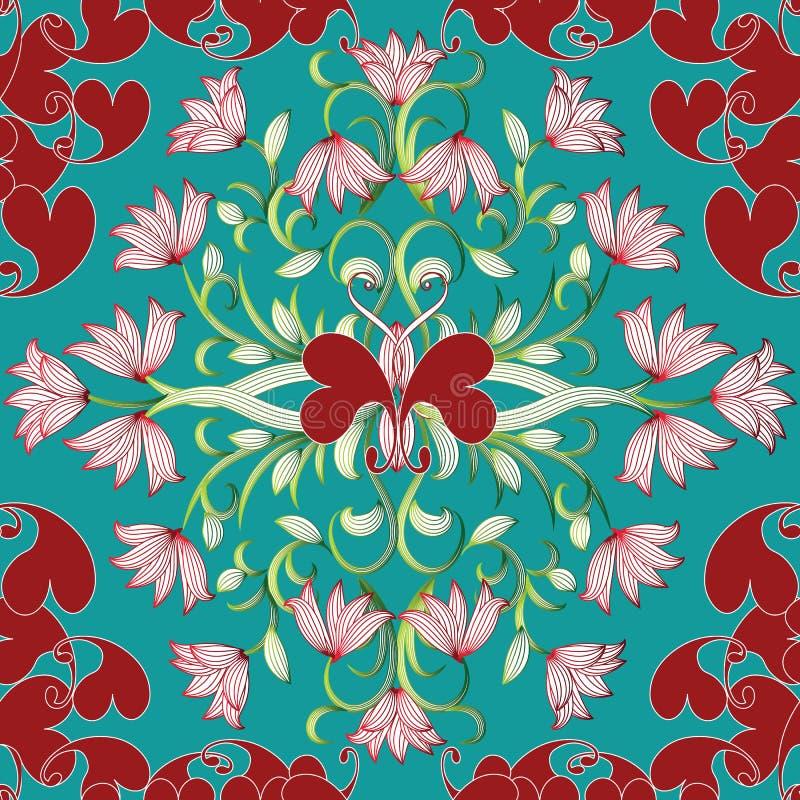 Nahtloses mit Blumenmuster Helles Türkis Flourish-Vektor backgro vektor abbildung