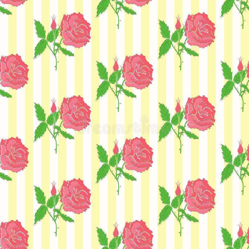 Nahtloses mit Blumenmuster Hintergrund der Rosen lizenzfreie abbildung