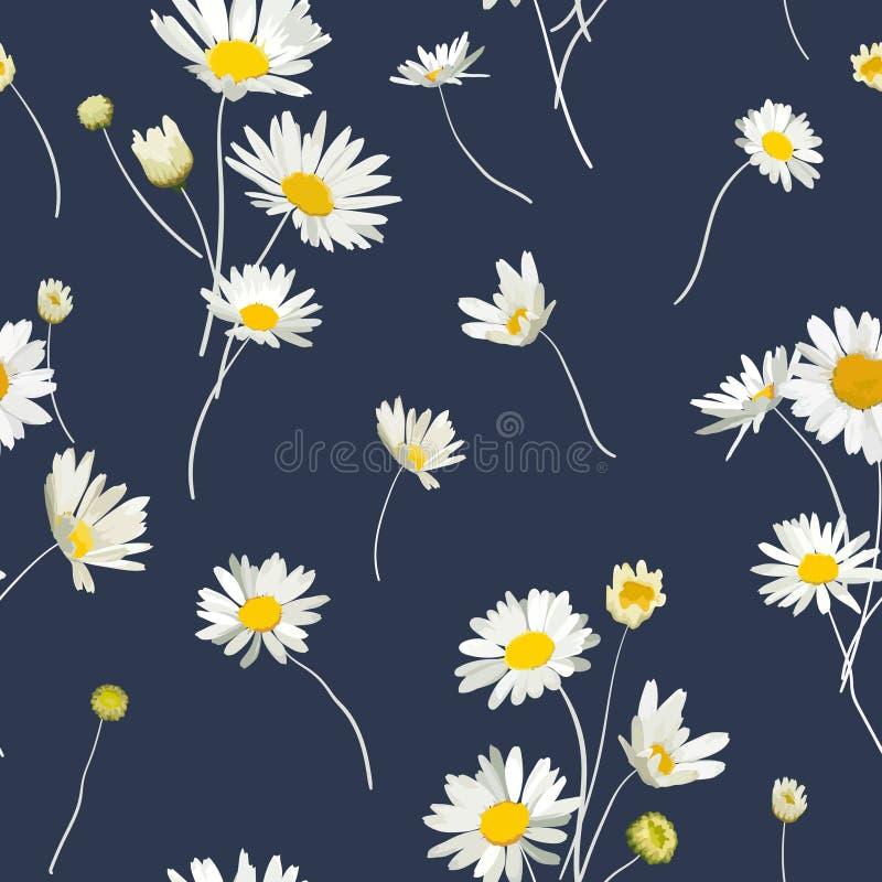 Nahtloses mit Blumenmuster mit Kamillen-Blumen Natürlicher Hintergrund mit Daisy Flowers für Frühlings-Sommer-Entwurfs-Tapete vektor abbildung
