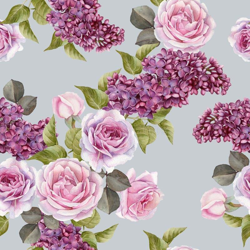 Nahtloses mit Blumenmuster mit Aquarellflieder und -rosen stock abbildung