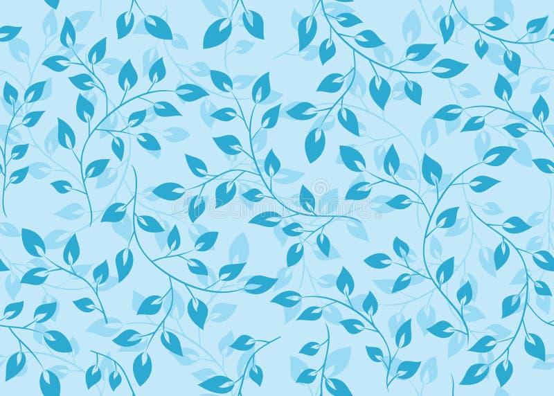 Nahtloses mit Blumenmuster mit blauen Blättern vektor abbildung