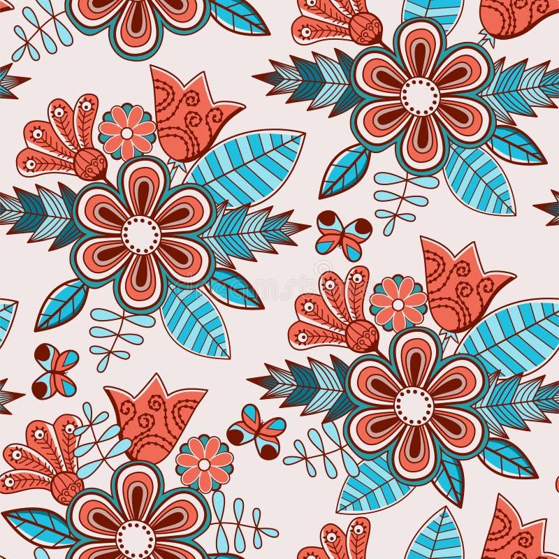 Nahtloses mit Blumenmuster mit Blumen lizenzfreie abbildung