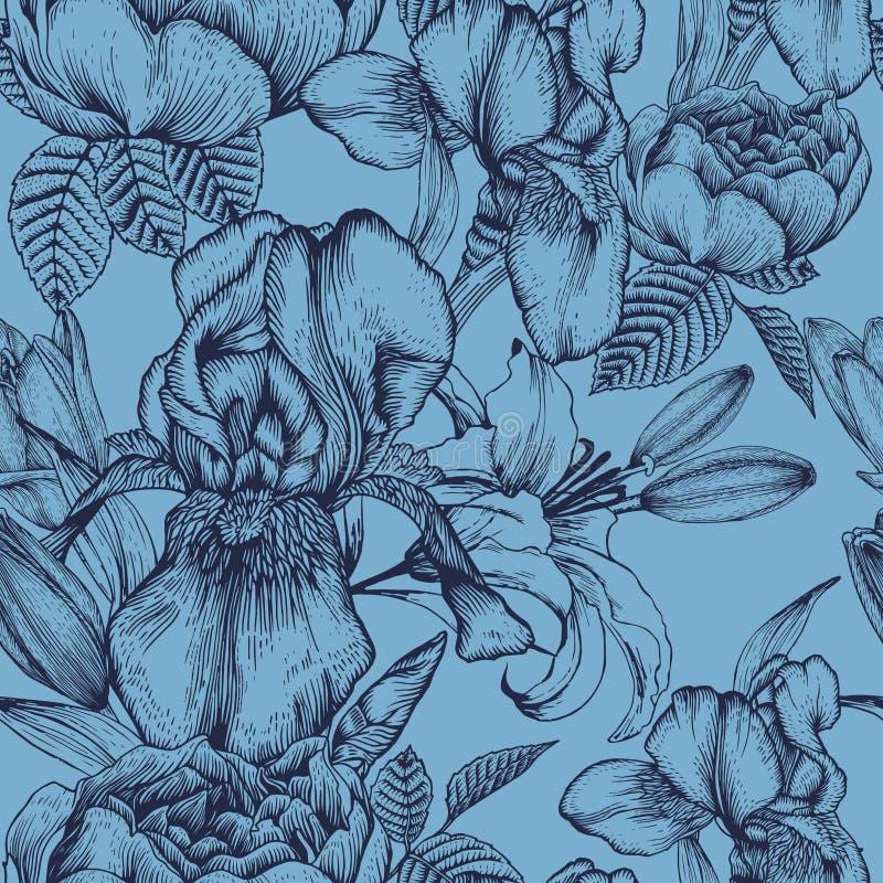 Nahtloses mit Blumenmuster mit Iris, Lilien und Rosen auf dem blauen Hintergrund vektor abbildung