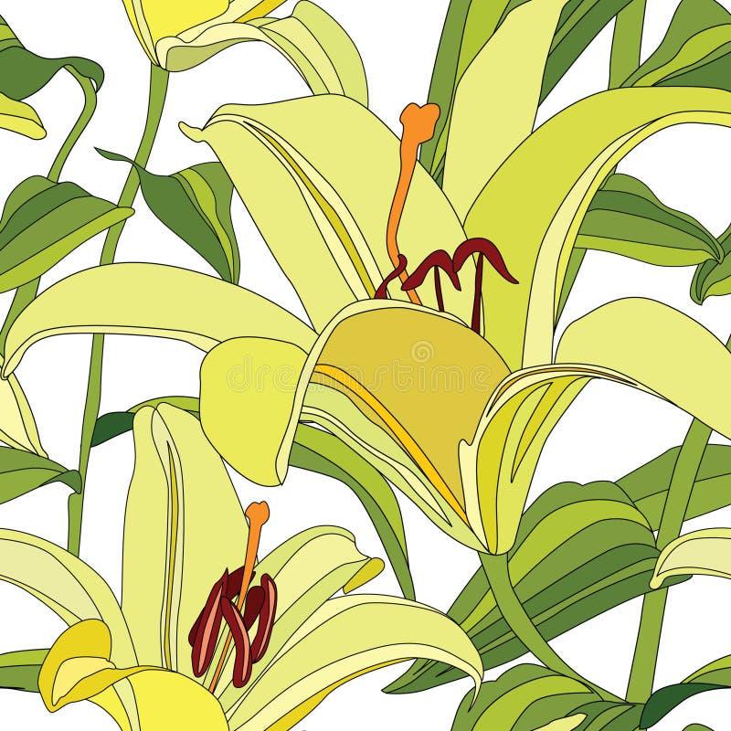 Nahtloses mit Blumenmuster mit leichter Blumenlilie stock abbildung