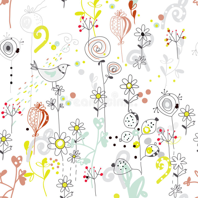 Nahtloses mit Blumenmuster mit Vogelskizze stock abbildung