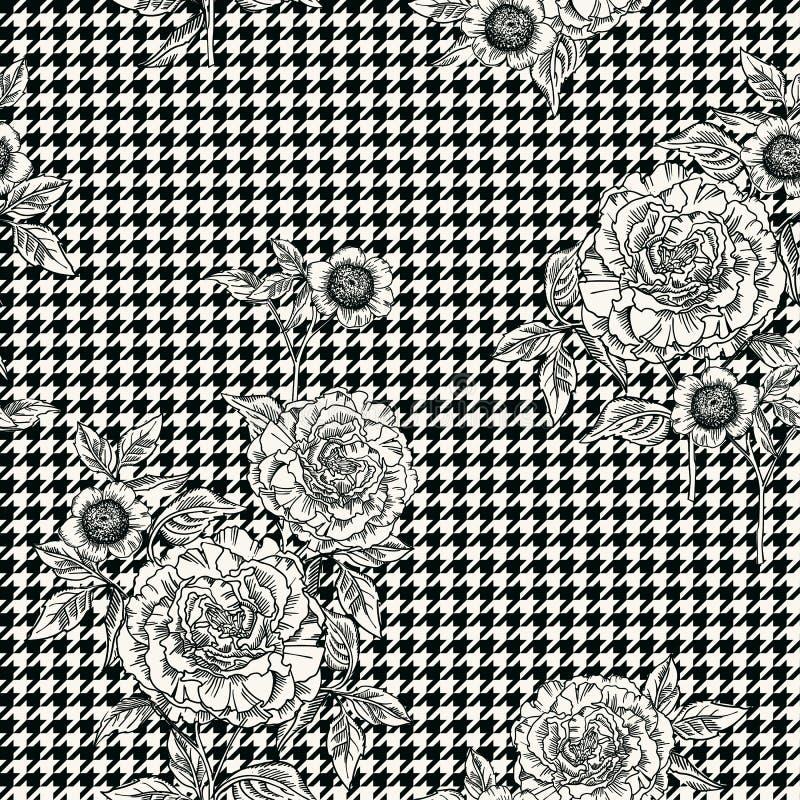 Nahtloses mit Blumenmuster mit Plaidhintergrund Rand der Farbband-, Lorbeer- und Eichenblätter stock abbildung